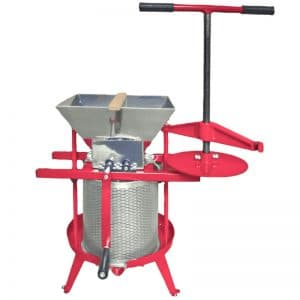 Cross beam fruit press and apple crusher combo