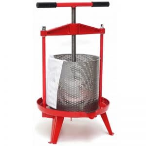 Cross beam fruit press with stainless steel basket