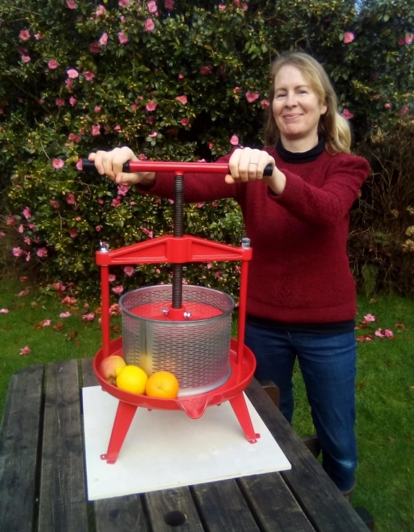 Cross beam fruit press with stainless steel basket 9l - size