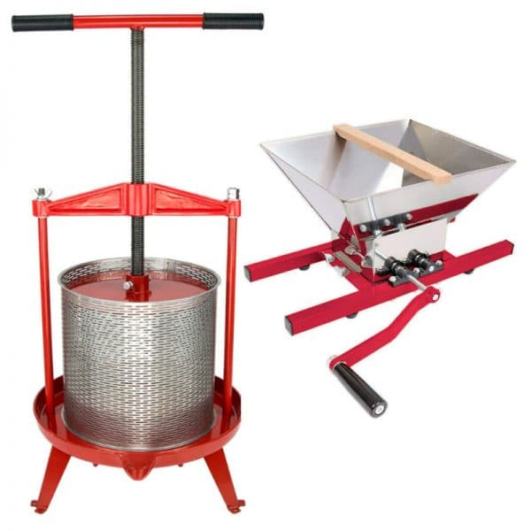 Cross beam fruit press and apple crusher combo - products