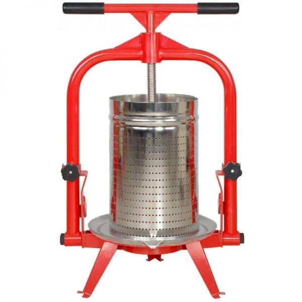 Cross beam fruit press with stainless steel basket and tilt beam